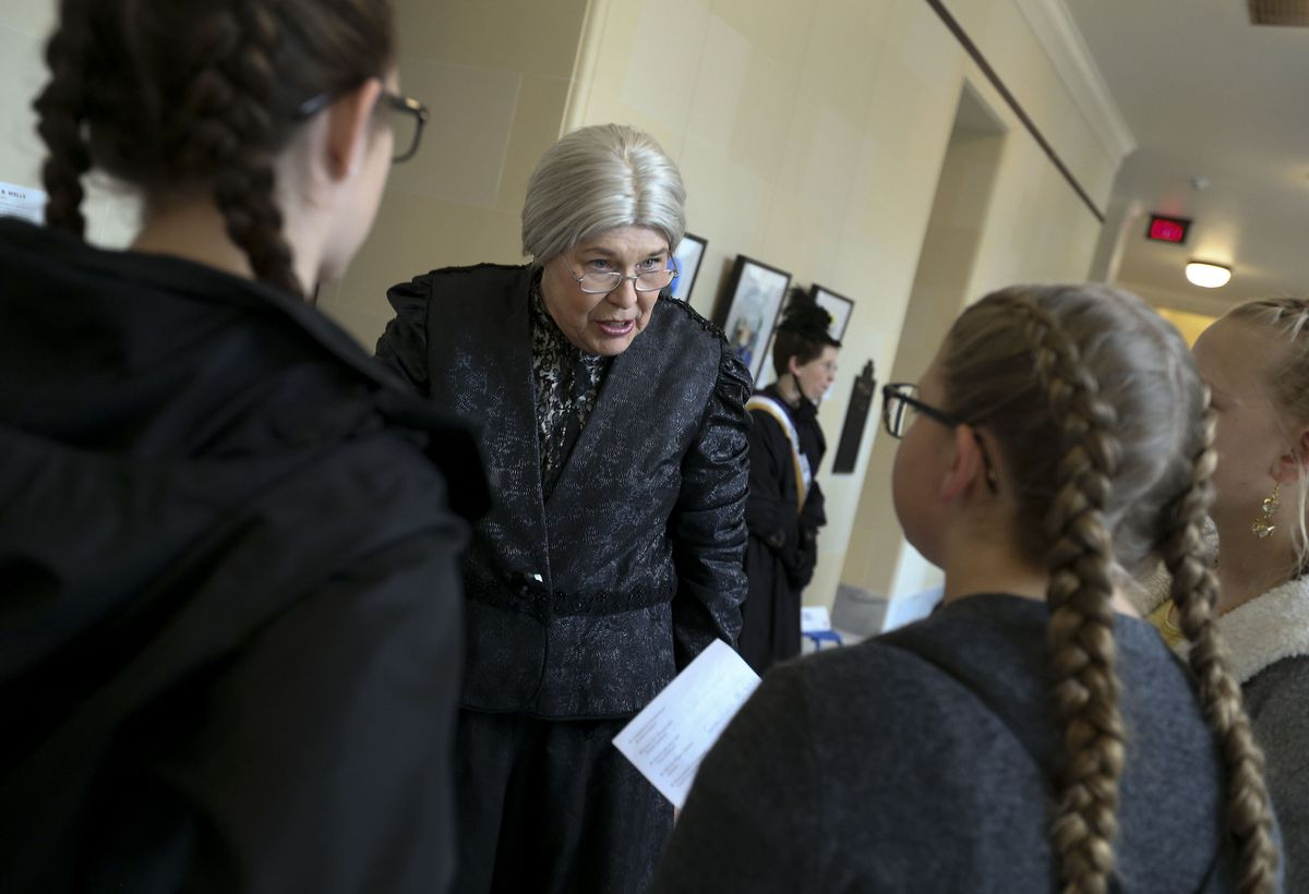 Jan C. Smith portrays Susan B. Anthony while speaking to students as part of Utah Women's Suffrage Week at the Capitol in Salt Lake City on Wednesday, Feb. 12, 2020.