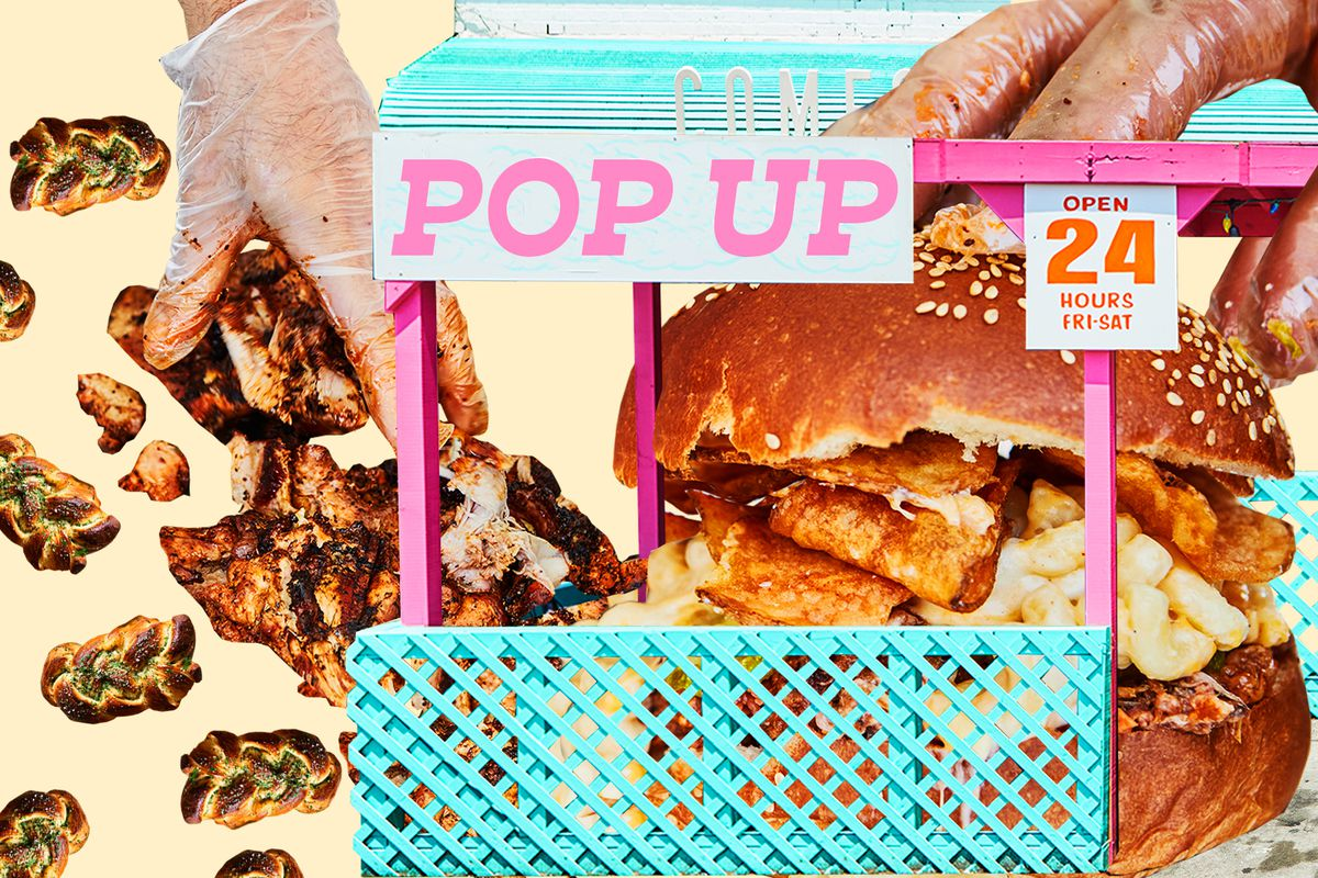 """A photo collage featuring challah, gloved hands assembling a sandwich, and a food stand with a sign that says """"pop-up"""""""