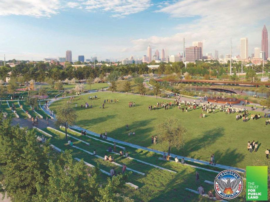 A rendering showing a huge public park with the skyline of Atlanta in the background.