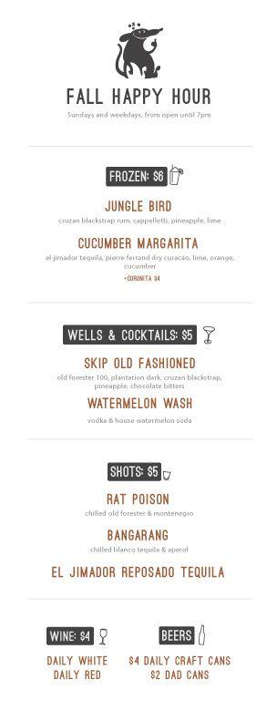 happy hour menu, the skip