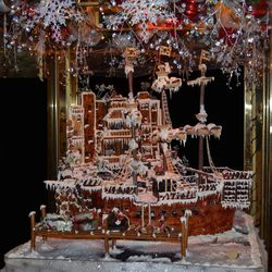 Another view of the gingerbread pirate ship.