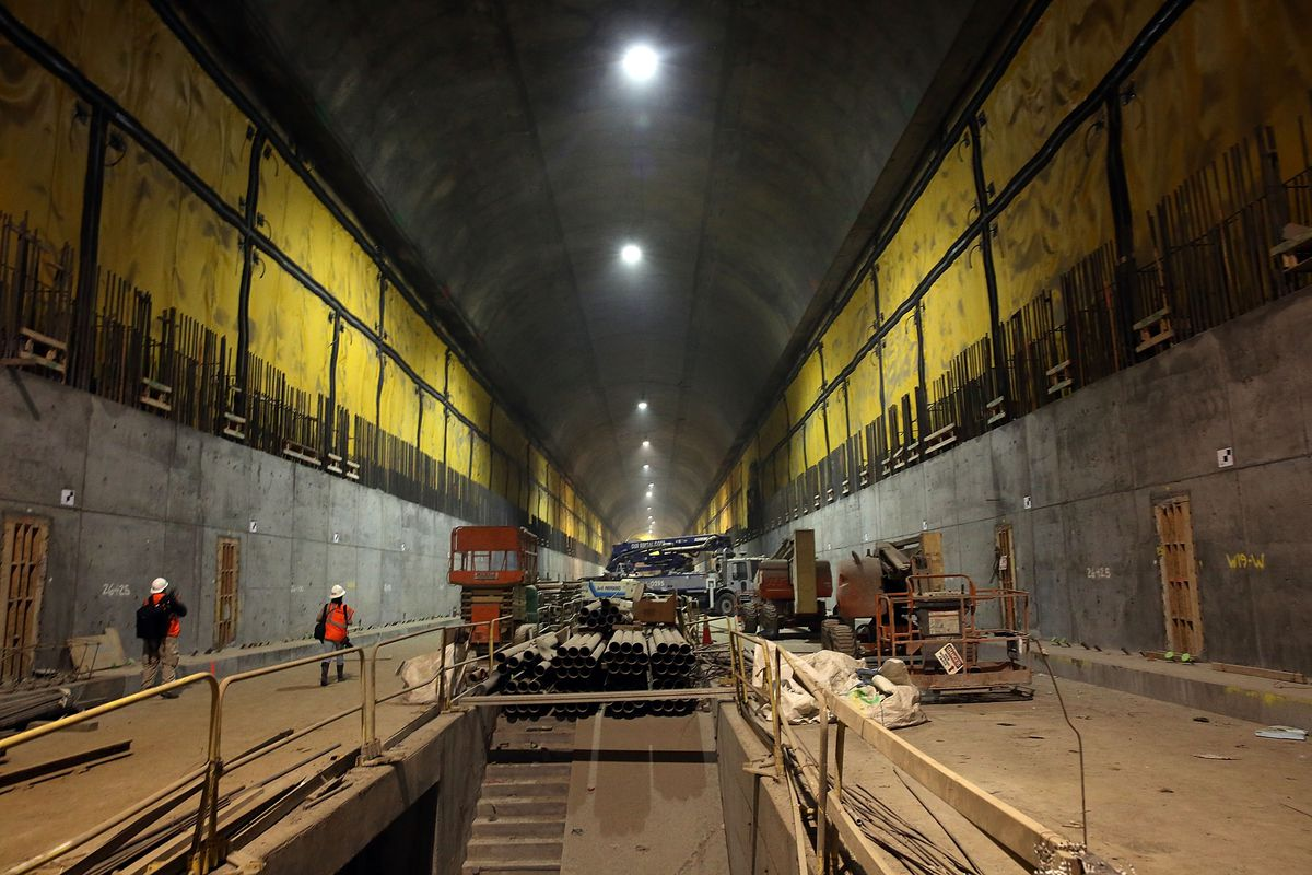 New York City's Transit Authority Gives Media Tour Of Tunnel Connecting LIRR Trains To Grand Central Station