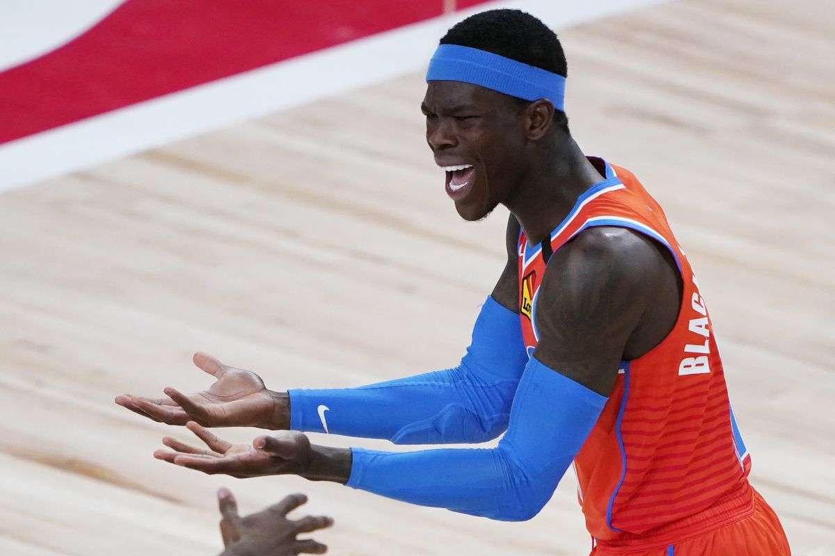 Dennis Schroder of the Oklahoma City Thunder reacts after a play against the Utah Jazz during the first half of an NBA basketball game on August 1, 2020 in Lake Buena Vista, Florida.