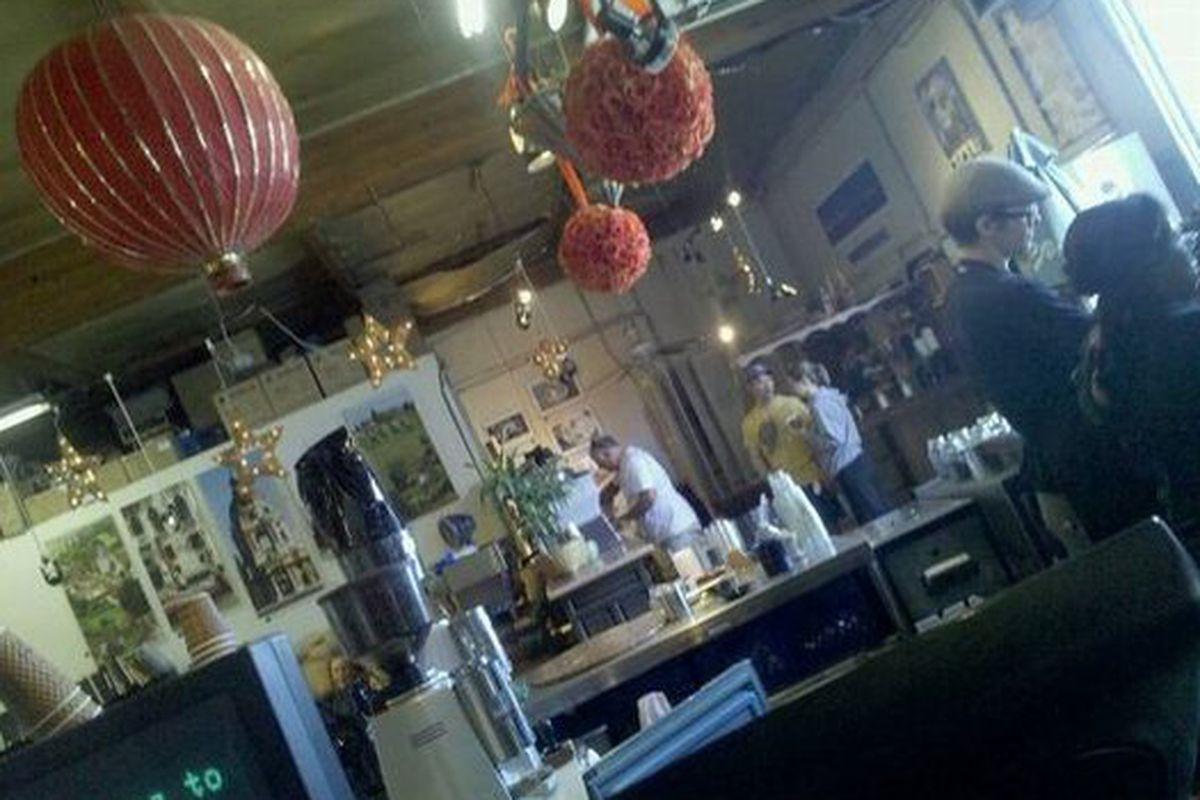 Inside Jones Coffee.