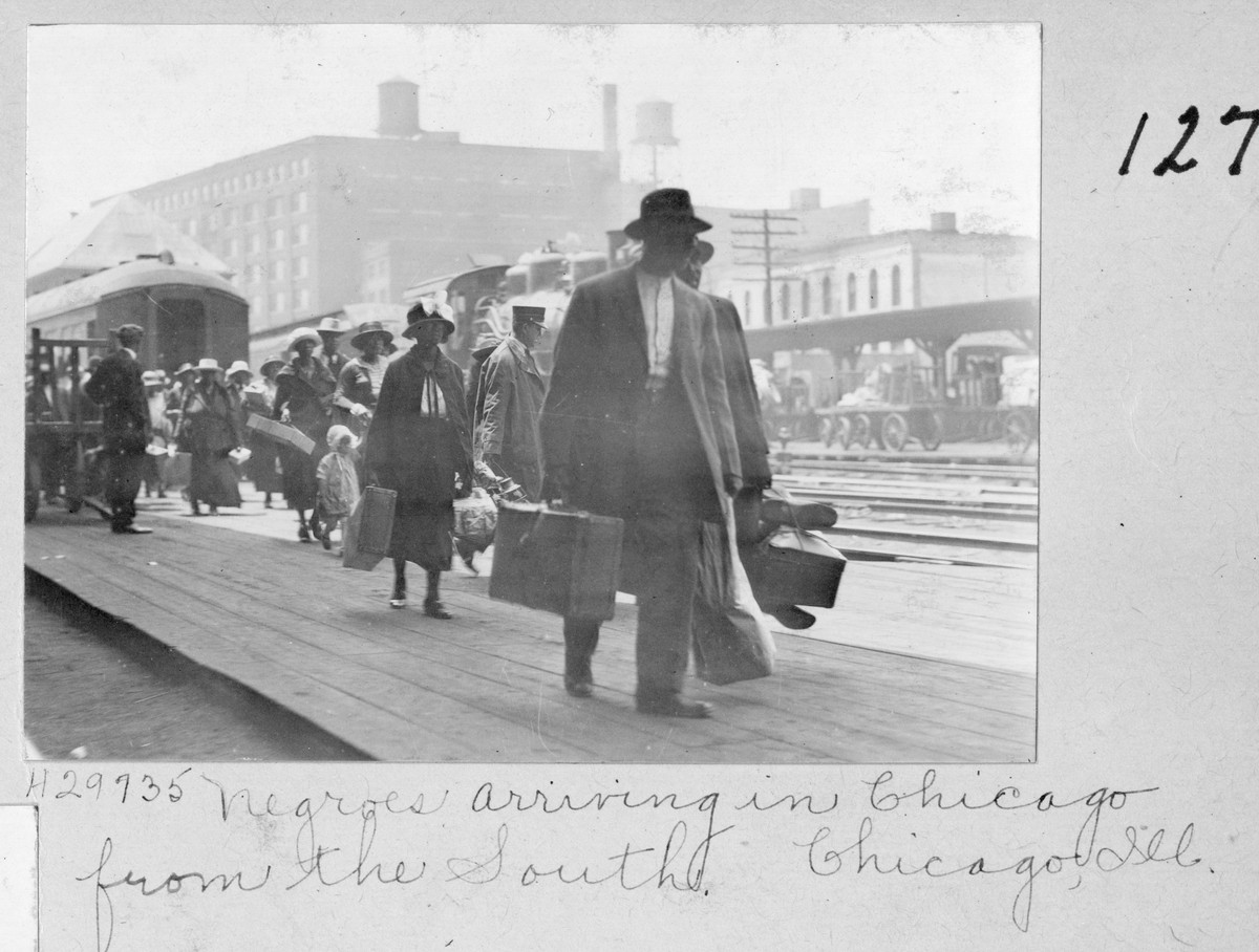 """""""The Black Church,"""" a two-part documentary premiering Tuesday, shines a light on the role of the church in Black America's journey from slavery through the present-day rise of white supremacy. The church was instrumental in the Great Migration that brought 6 million African Americans North from the South. Here, Southerners arrive at a Chicago train station."""