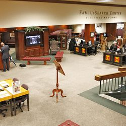 Family Search Center at the Joseph Smith Memorial Building for a special section on Hotel Utah's centennial Wednesday, May 18, 2011, above Salt Lake City, Utah.