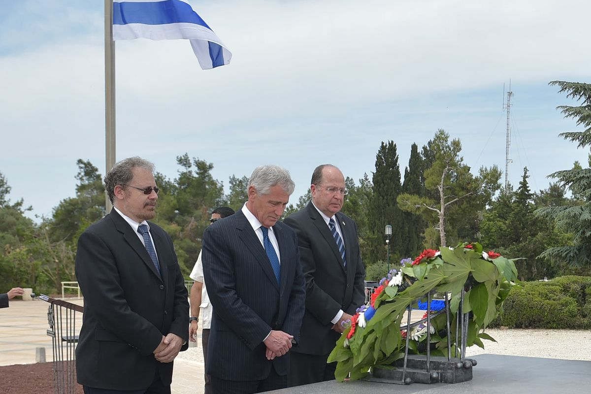 Chuck Hagel at the grave of Theodor Herzl.