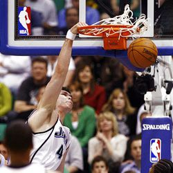 JKyrylo Fesenko dunks the ball as the Jazz-Nuggets play in game 3 of the Western Conference Playoffs in Energy Solutions Arena.