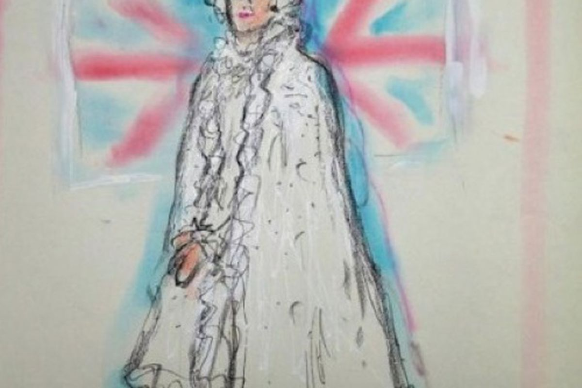 If Karl Lagerfeld had his way, the Queen would wear this cape. Image via Styleite