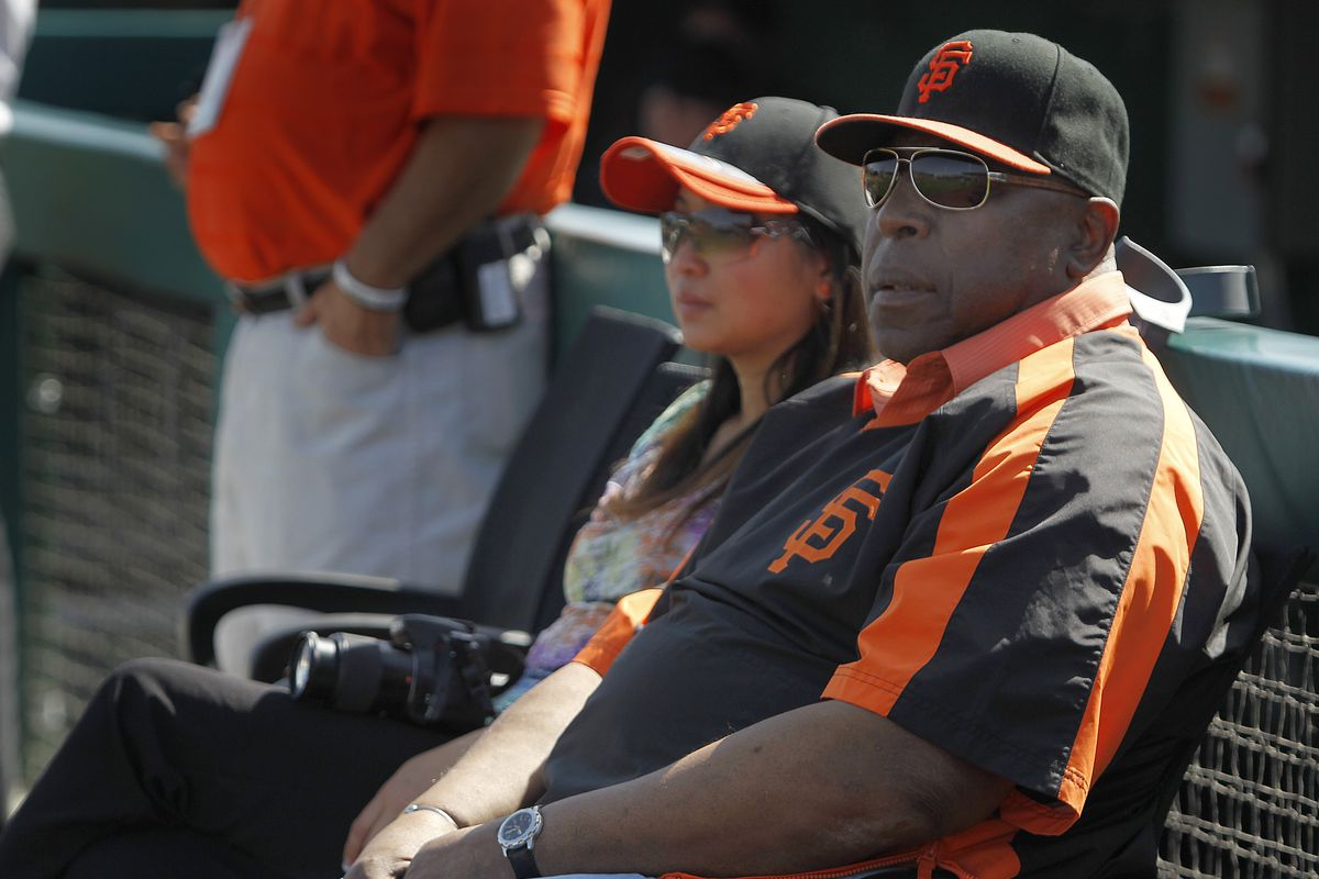 Willie McCovey watches batting practice before the San Francisco Giants Cactus League spring training game against the Cincinnati Reds in Scottsdale, Ariz. on Friday, March 9, 2012.