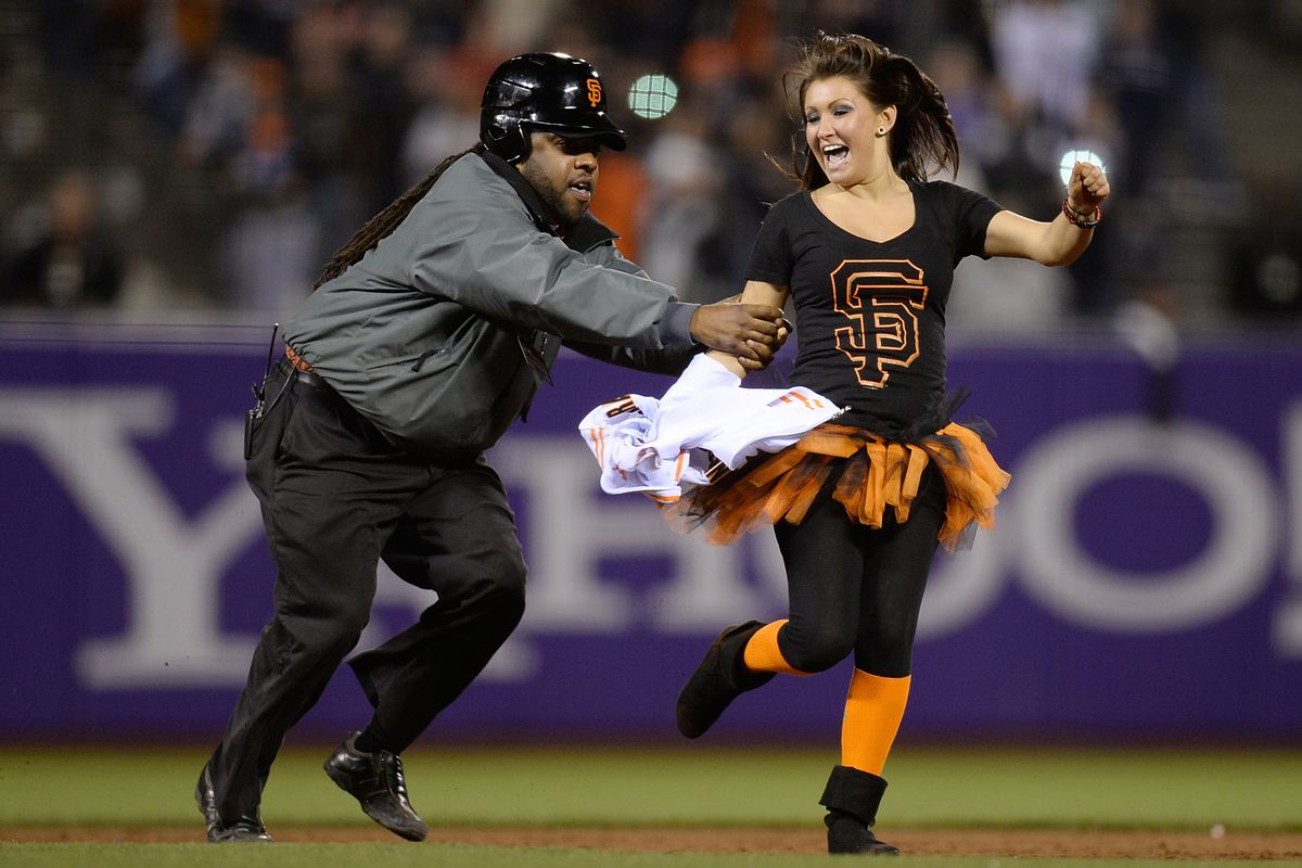 The only person in Giants gear having fun at the ballpark