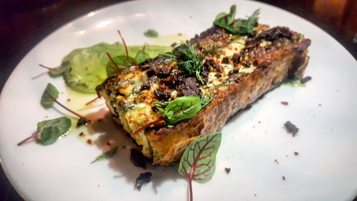 Chef Brendan Pelley's 100-layer spinach pie at Doretta