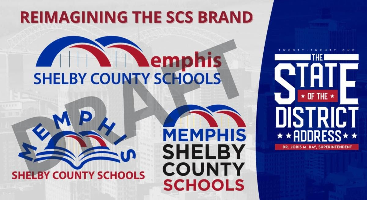 A graphic for Shelby County Schools' State of the District, announcing a change in the district's name to Memphis Shelby County Schools.