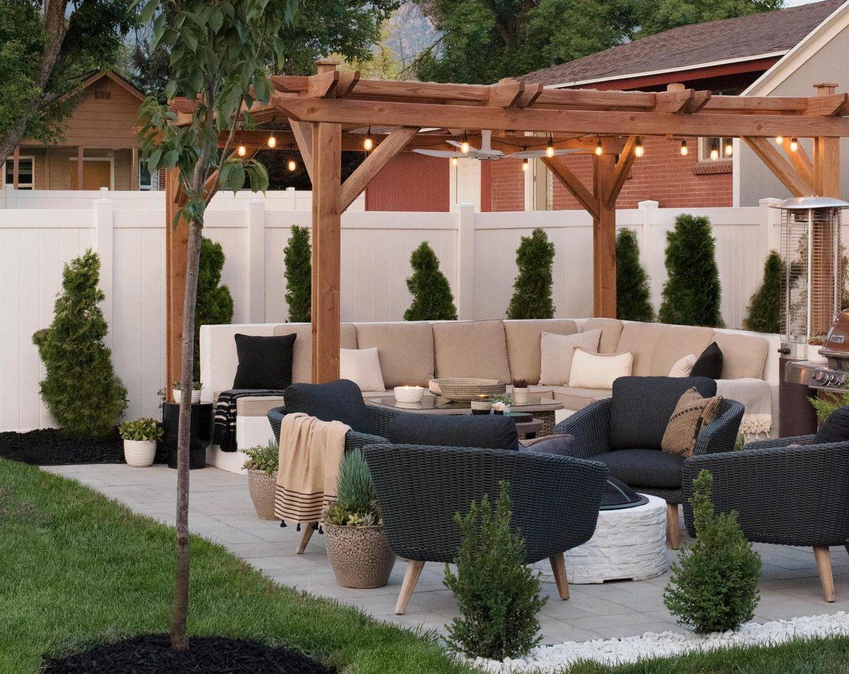 Summer 2021 Outdoor Rooms, Room For Tuesday, pergola over a concrete sofa