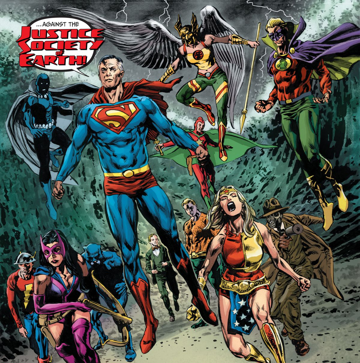 The Justice Society of Earth assembles at the call of Earth 2 Superman in Tales from the Dark Multiverse: Crisis on Infinite Earths, DC Comics (2020).