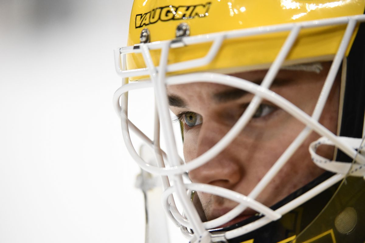 Jack LaFontaine #45 of the Michigan Wolverines concentrates on the ice against the Notre Dame Fighting Irish during the Division I Men's Ice Hockey Semifinals held at the Xcel Energy Center on April 5, 2018 in St Paul, Minnesota.