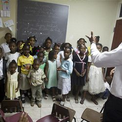 Children sing during Primary class in the Torcelle Ward at the Petionville LDS Meetinghouse in Petionville, Haiti, on Sunday.