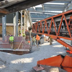 Another view of the concrete conveyor working under the left center field bleachers -