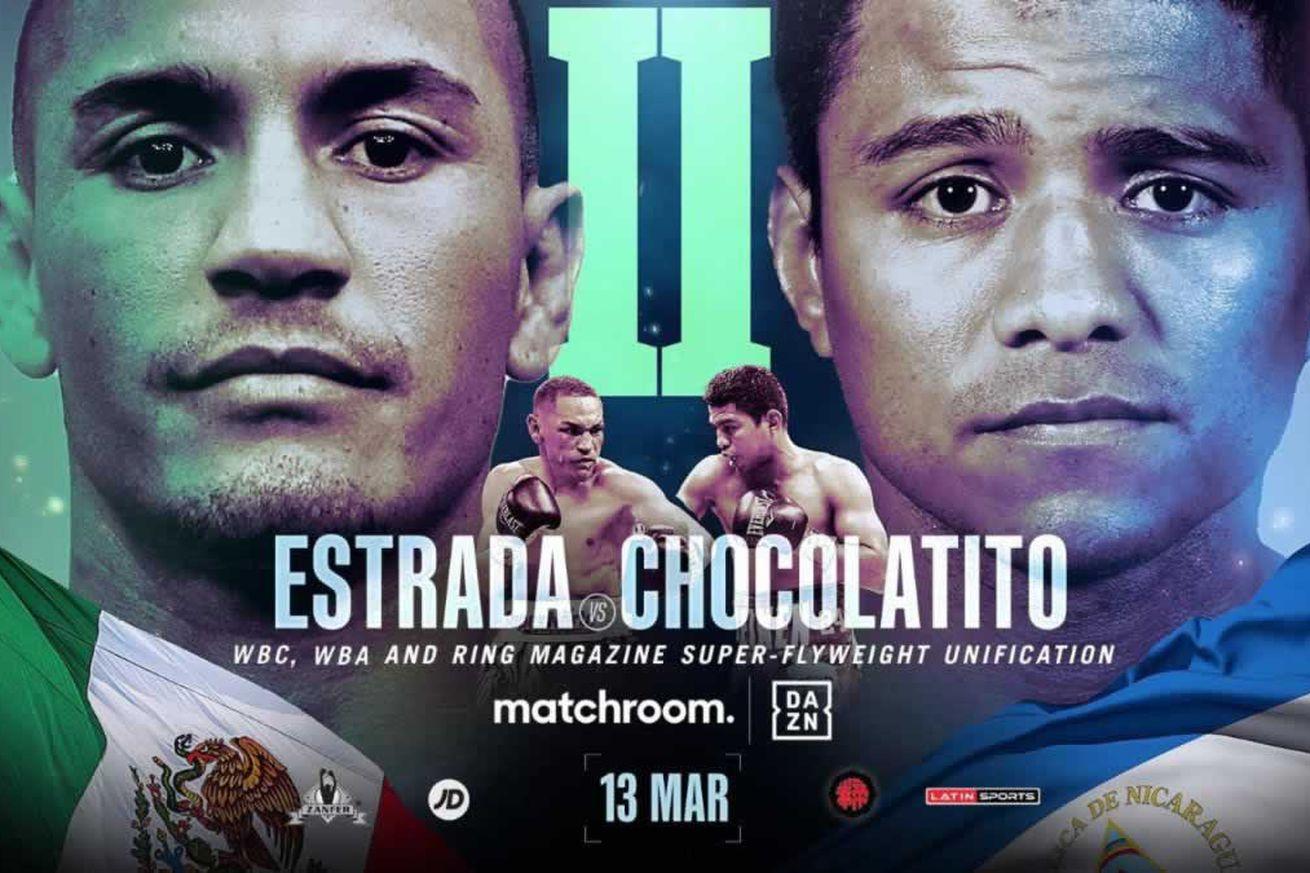 "<label><a href='https://www.mvpboxing.com/news/boxing/45011/Estrada-Chocolatito-2-more-Boxing-TV-schedule-for?ref=headlines' class='headline_anchor news_link'>Estrada-Chocolatito 2, more: Boxing TV schedule for Mar. 10-13</a></label><br />The long-awaited rematch between Juan Francisco Estrada and Roman ""Chocolatito"" Gonzalez head"