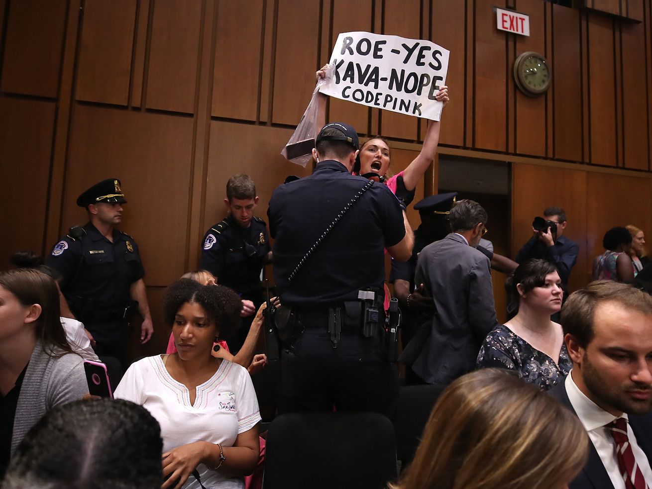Protesters disrupt the start of the Supreme Court nominee Judge Brett Kavanaugh's confirmation hearing before the Senate Judiciary Committee in the Hart Senate Office Building on Capitol Hill September 4, 2018, in Washington, DC.