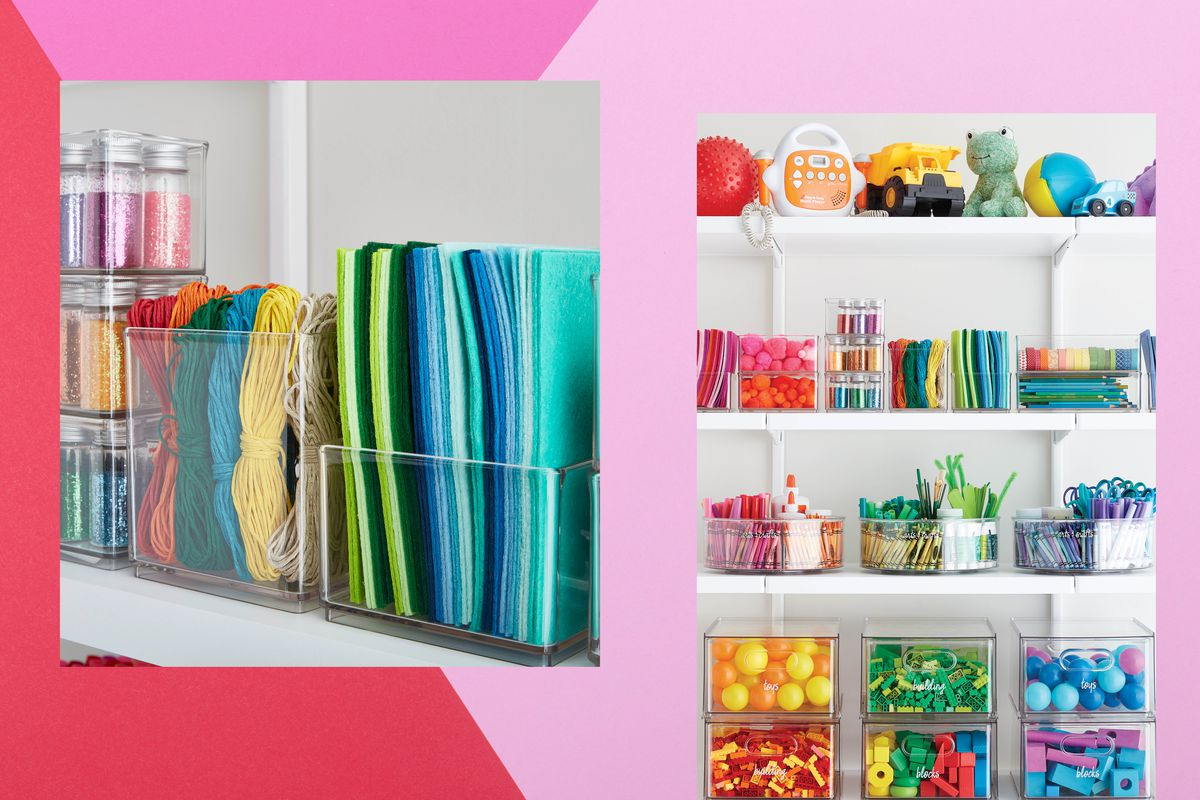 A collage of multiple photos of closets. There are clear storage containers full of colorful craft items, toys, and other objects.