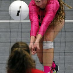 Park City faces Sky View in the girls 4A high school volleyball state championship game in Orem on Thursday, Oct. 26, 2017.