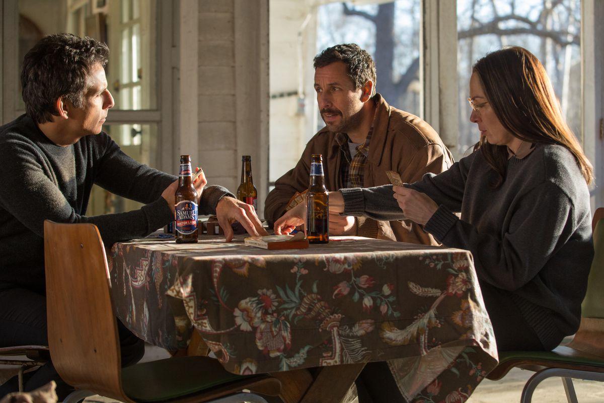 Ben Stiller, Adam Sandler, and Elizabeth Marvel in The Meyerowitz Stories.