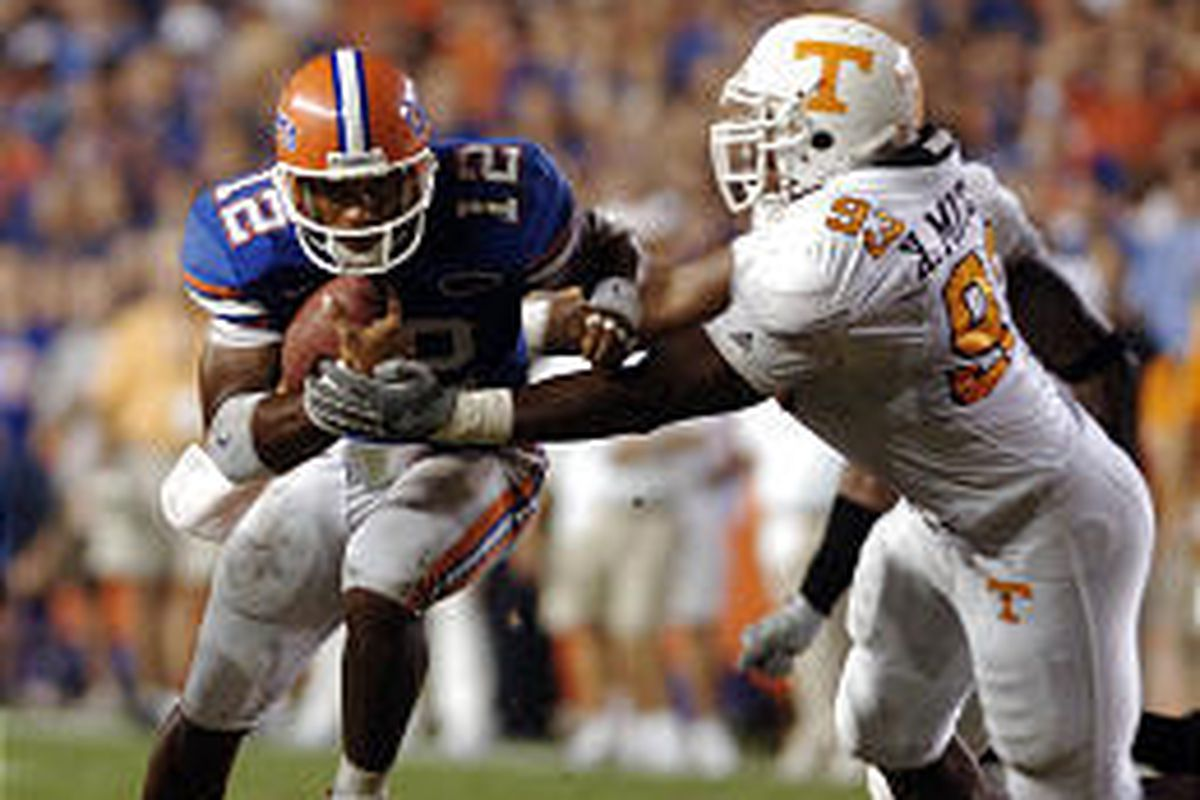 Florida quarterback Chris Leak, left, is tackled by Tennessee's Xavier Mitchell in the third quarter of Saturday's game in Gainesville, Fla.