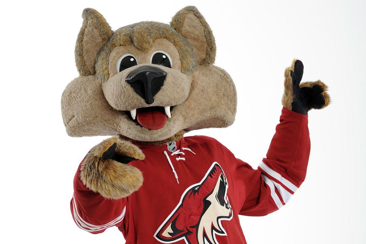 No pictures of South Dakota's mascot, so here's the Arizona Coyotes' mascot.