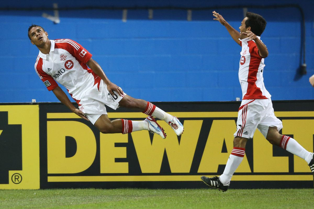 A fantastically bizarre celebration. Probably his finest moment as a TFC player.