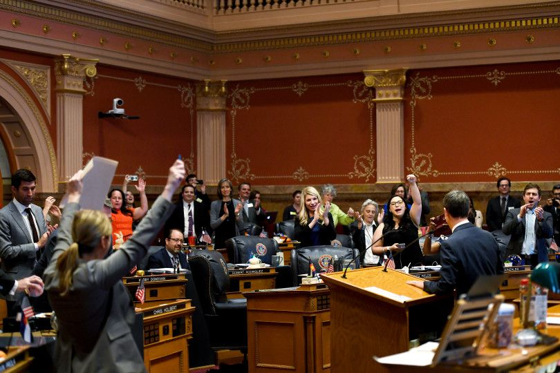 The Senate celebrates the closing of the Colorado General Assembly on the last day of the 2019 session.