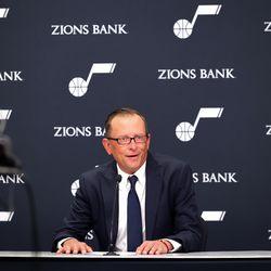 Justin Zanik, general manager of the Utah Jazz, speaks during the Utah Jazz media day at Vivint Arena in Salt Lake City on Monday, Sept. 27, 2021.