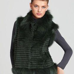 "Christian Cota for Maximilian 21"" Sheared Rabbit Fur Vest with Fox Fur Trim ORIG $1,195.00 SALE $836.50"
