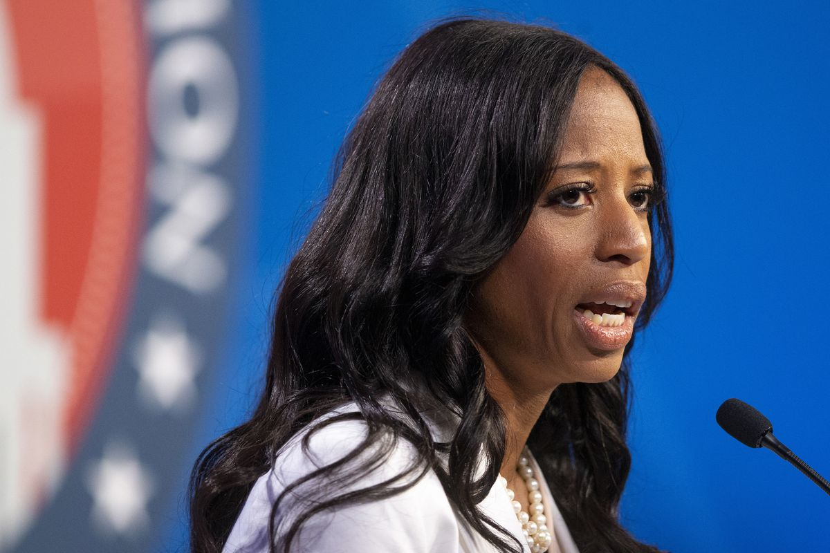 U.S. Rep. Mia Love answers a question as she and Salt Lake County Mayor Ben McAdams participate in a debate at the Gail Miller Conference Center at Salt Lake Community College on Monday, Oct. 15, 2018, in Sandy, Utah, as the two battle for Utah's 4th Cong