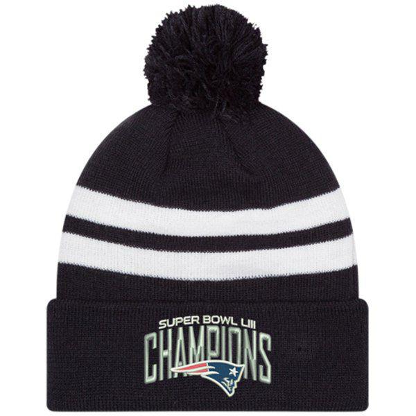 Patriots Super Bowl LIII Champions Top Stripe Knit Hat for  24.99 Fanatics 7d5b42c90d7