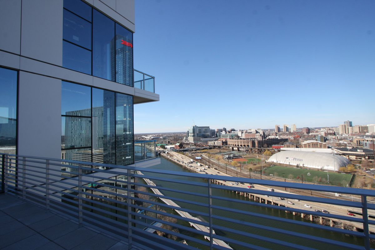 A view of Penn's campus from a penthouse terrace.