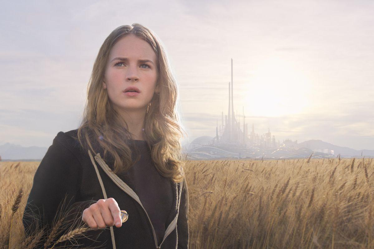 Casey (Britt Robertson) finds herself in an alternate, futuristic dimension in Tomorrowland.