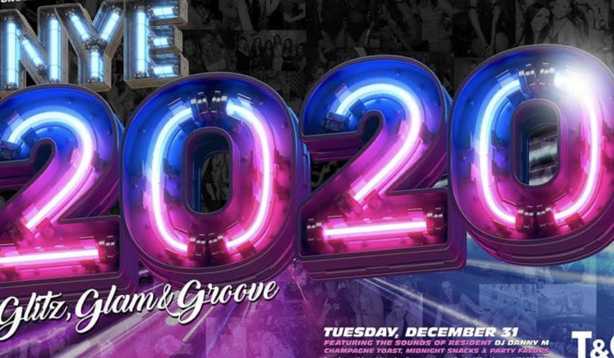 Graphic reading NYE 2020 Glitz, Glam & Groove.