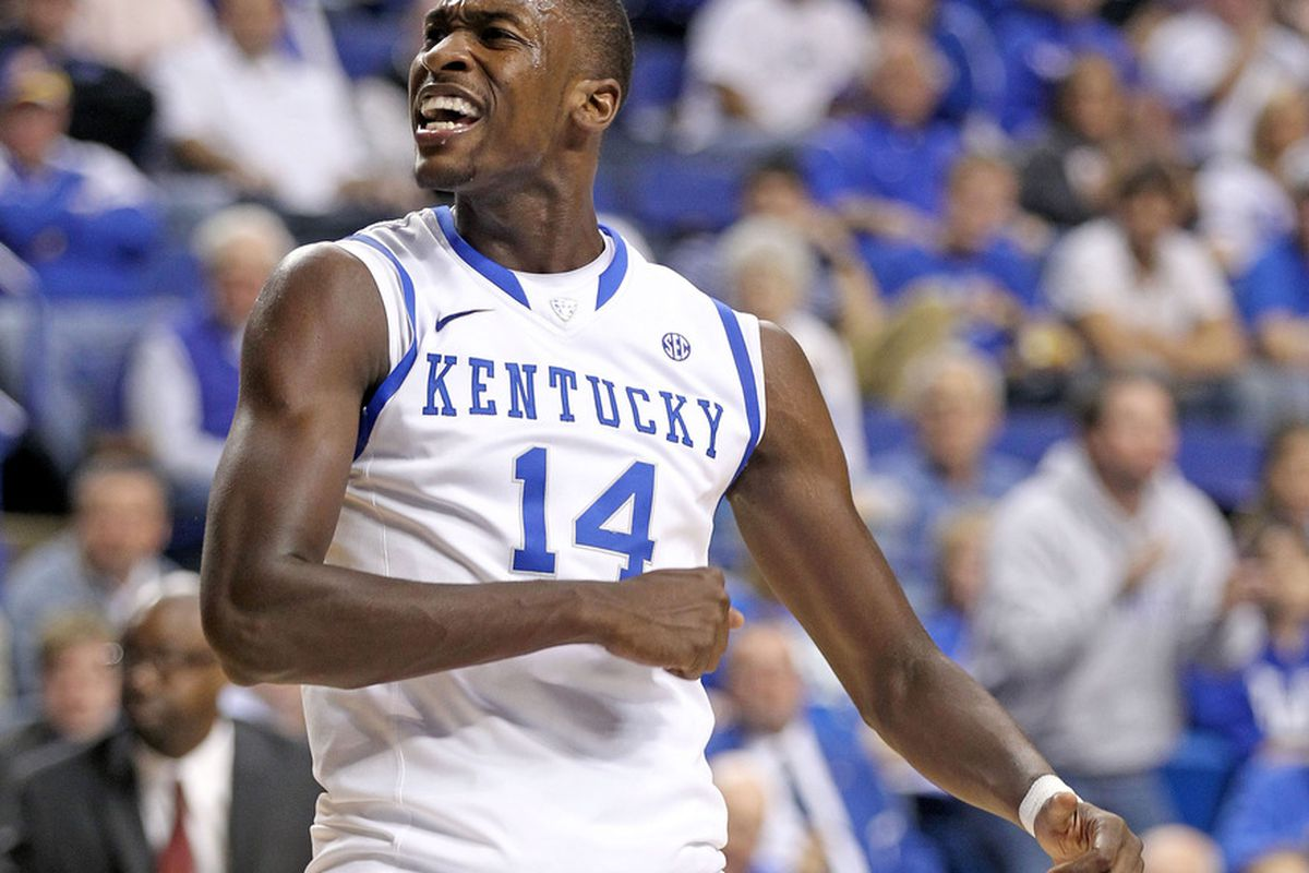 LEXINGTON, KY - NOVEMBER 07:  Michael Kidd-Gilchrist #14 of the Kentucky Wildcats celebrates during the exhibition game against the Morehouse Maroon Tigers at Rupp Arena on November 7, 2011 in Lexington, Kentucky.  (Photo by Andy Lyons/Getty Images)