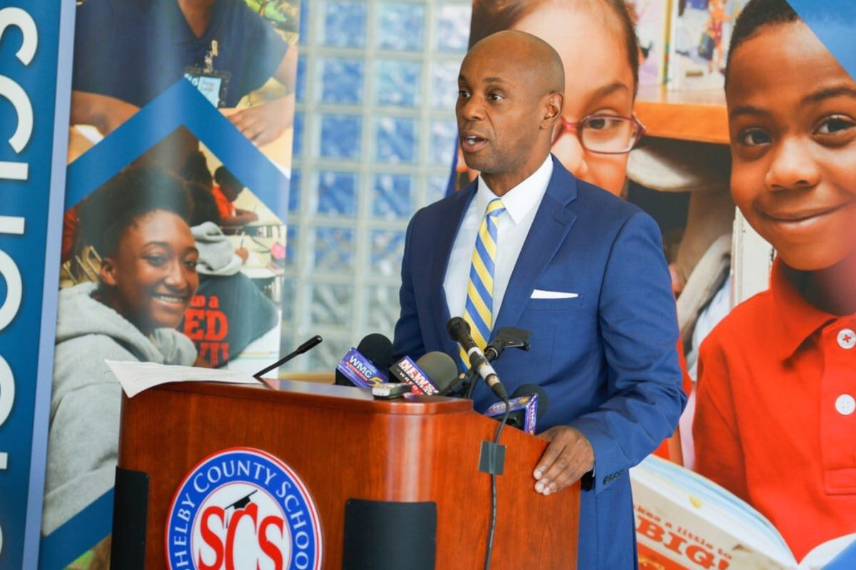Superintendent Dorsey Hopson speaks at a back-to-school press conference for Shelby County Schools for the 2017-18 school year.