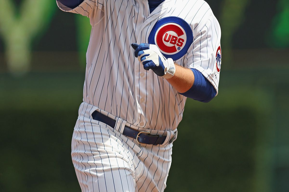 Anthony Rizzo of the Chicago Cubs runs the bases after hitting a two-run home run against the St. Louis Cardinals at Wrigley Field in Chicago, Illinois. (Photo by Jonathan Daniel/Getty Images)
