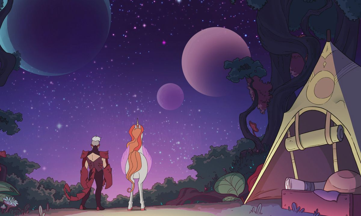 scorpia and swiftwind staring up at a brilliant purple night sky