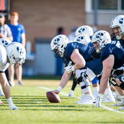 BYU's offensive line prepares for a snap during 2021 spring camp at BYU in Provo, Utah.