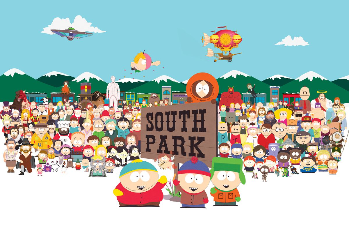 artwork of the South Park town cast