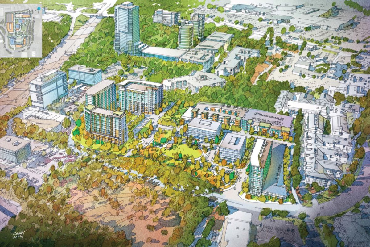 A hand rendering of a multi-tower development, surrounded by trees.