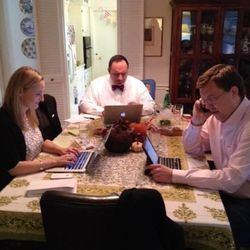 Part of the Giving Tuesday team on the road. Pictured from left to right: Asha Curran, Aaron Sherinian, Henry Timms.