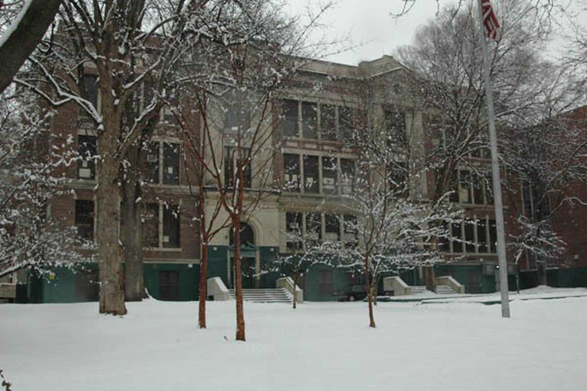 Exterior of Germantown High in the winter snow.