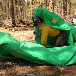 ADDS IDENTIFICATION - In this April 12, 2012 photo provided by the Cronkite News, Granite Mountain Hotshots crew member Shane Arollado trains with others on setting up emergency fire shelters outside of Prescott, Ariz. On Sunday, June 30, 2013, 19 members of the Prescott-based crew were killed in the deadliest wildfire involving firefighters in the U.S. for at least 30 years. The firefighters were forced to deploy their emergency fire shelters - tent-like structures meant to shield firefighters from flames and heat - when they were caught near the central Arizona town of Yarnell, according to a state forestry spokesman.
