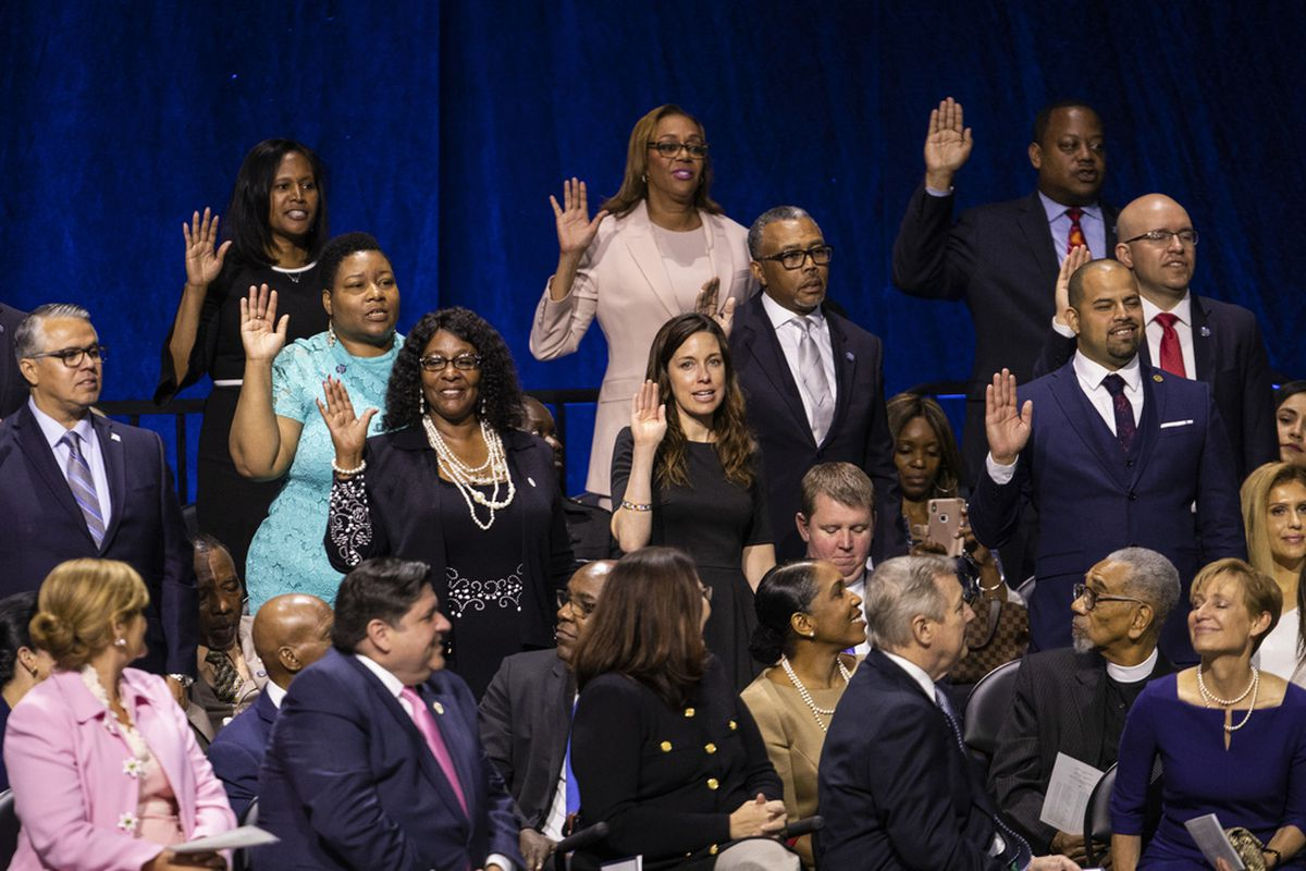 Members of the Chicago City Council are sworn in during the city's inauguration ceremony at Wintrust Arena, Monday morning, May 20, 2019. | AshleeRezin/Sun-Times