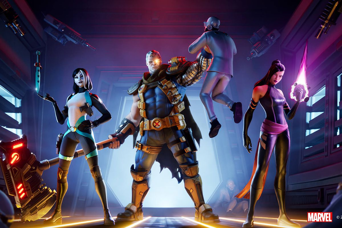 Cable, Psylocke, and Domino from Fortnite's X-Force crossover event
